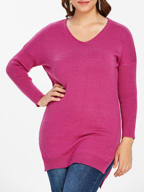 Plus Size High Low Slit Longline Sweater - DIMORPHOTHECA MAGENTA 1X