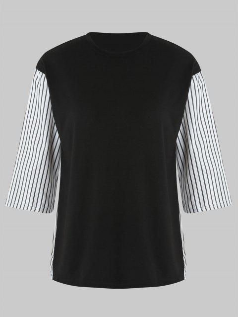 Plus Size Vertical Stripe Drop Shoulder T-shirt - BLACK 2X