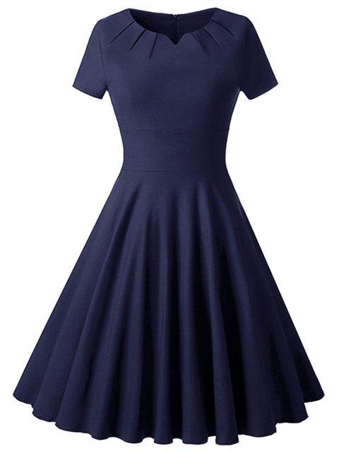 Plus Size Vintage Fit and Flare Dress - DEEP BLUE 1X