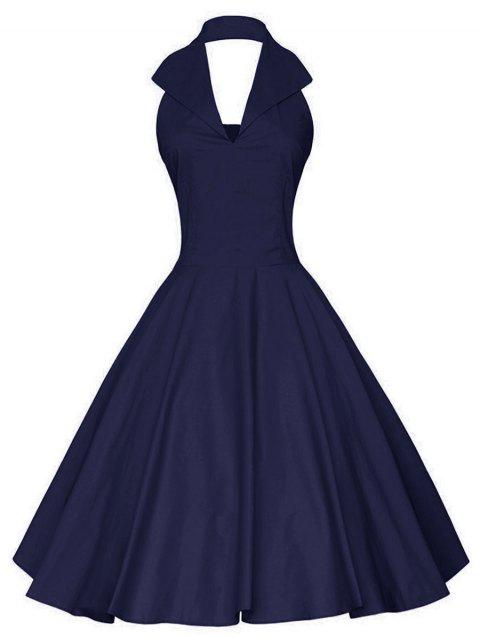 Plus Size Halter Open Back Vintage Dress - DEEP BLUE 2X