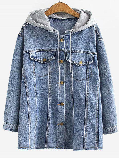 Plus Size Drop Shoulder Frayed Jean Coat - DENIM BLUE L