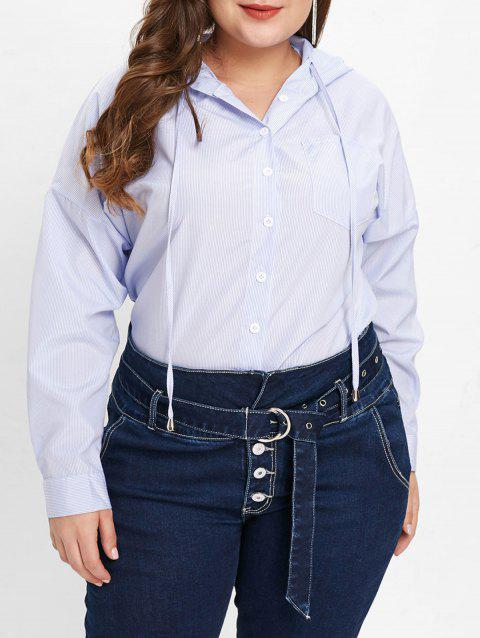 Plus Size Pocket Dip Hem Blouse - DAY SKY BLUE 1X