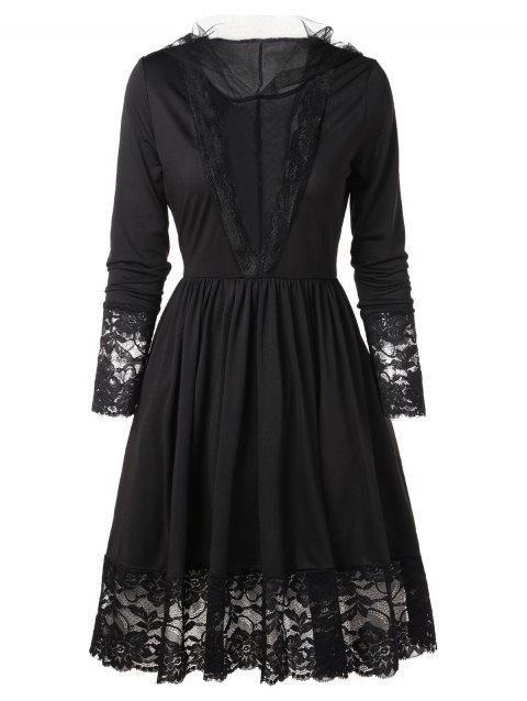 Hooded Lace Trim Vintage Dress - BLACK 2XL