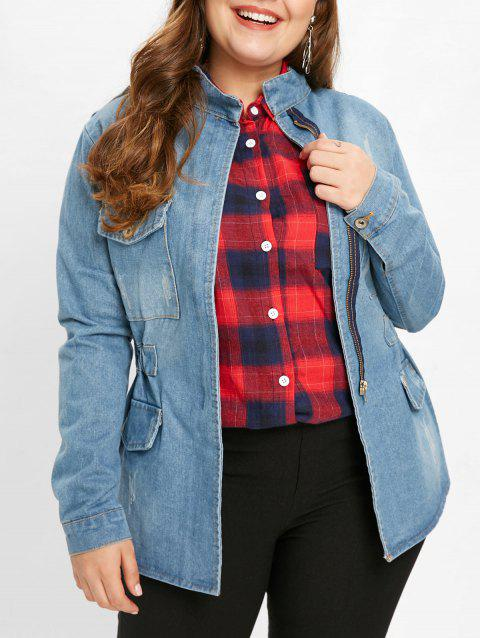 Plus Size Elastic Waist Denim Jacket - DENIM BLUE 4X