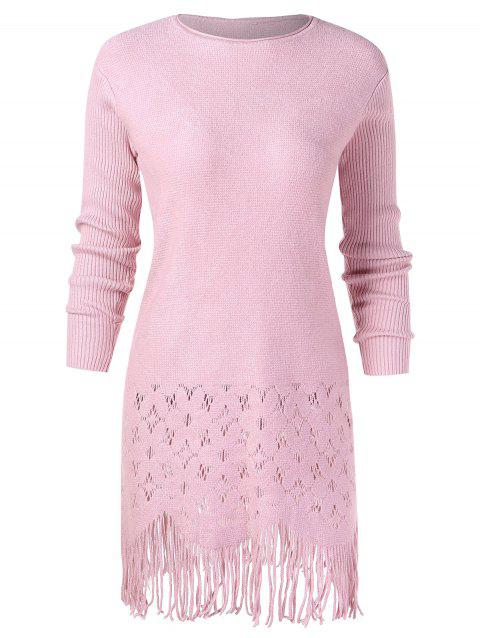 Crochet Fringed Long Knitwear - LIGHT PINK ONE SIZE