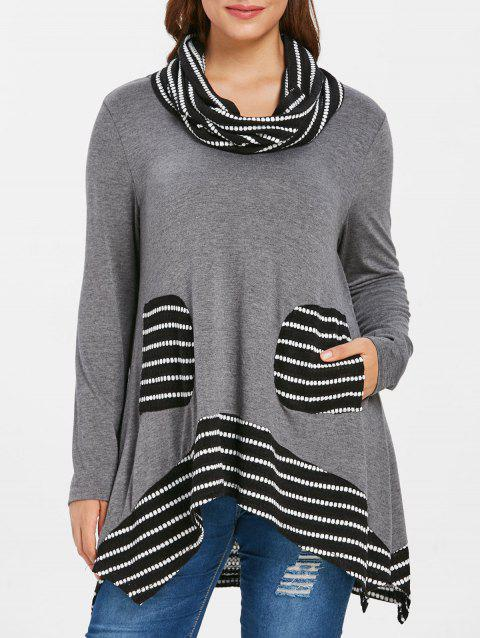 Plus Size Pockets Tunic Top with Scarf - DARK GRAY L