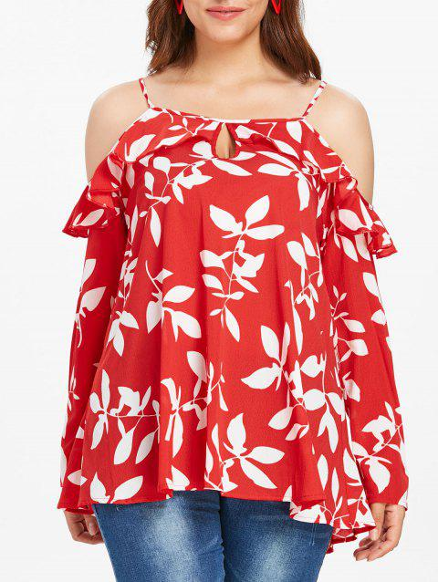 Plus Size Leaf Printed Flounce Cold Shoulder Top - multicolor 4X