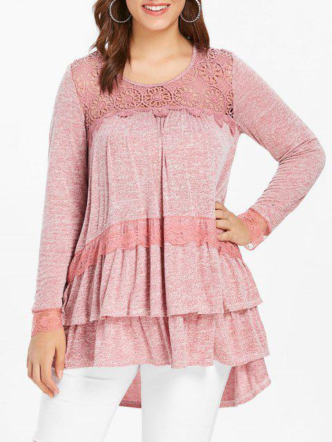 Plus Size Lace Panel Tiered Tunic Top - PINK BOW 1X