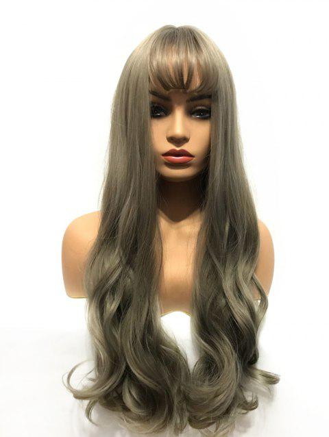 Long See-through Bang Capless Wavy Party Synthetic Wig - multicolor