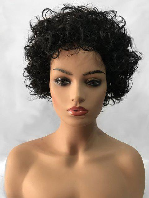 Inclined Bang Shaggy Short Curly Synthetic Wig - BLACK