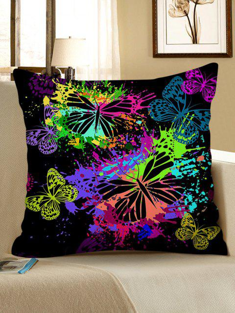 Paint Splatter Butterfly Print Decorative Sofa Pillowcase - multicolor W18 X L18 INCH