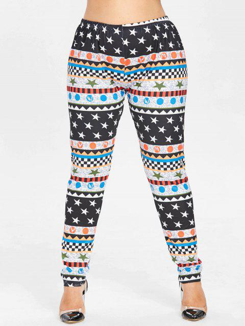 Plus Size Star Graphic Christmas Leggings - multicolor 4X