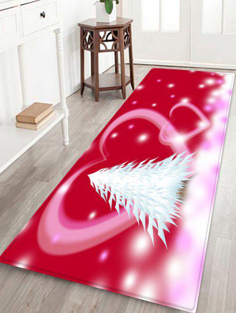 Christmas Tree Heart Printed Non-slip Area Rug - VALENTINE RED W24 X L71 INCH