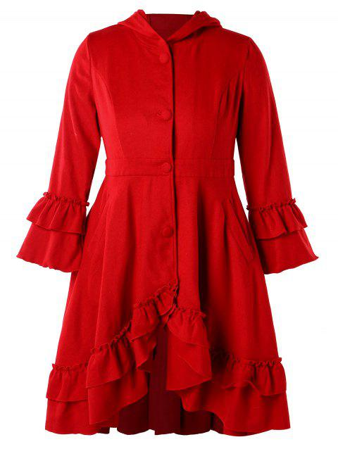Ruffles Plus Size Hooded Coat - RED 2X