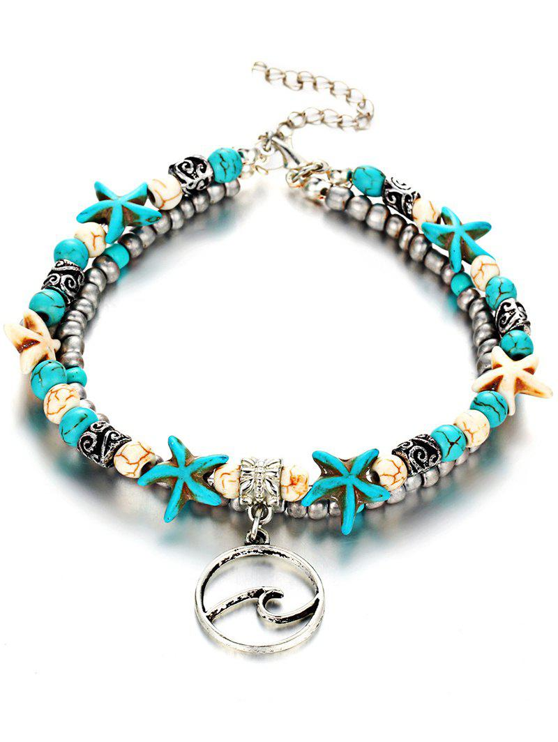 Alloy Seafish Layered Anklet Chain - TURQUOISE