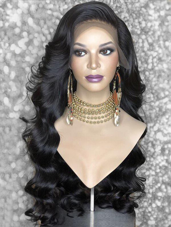 Long Side Bang Body Wave Synthetic Lace Front Wig - BLACK