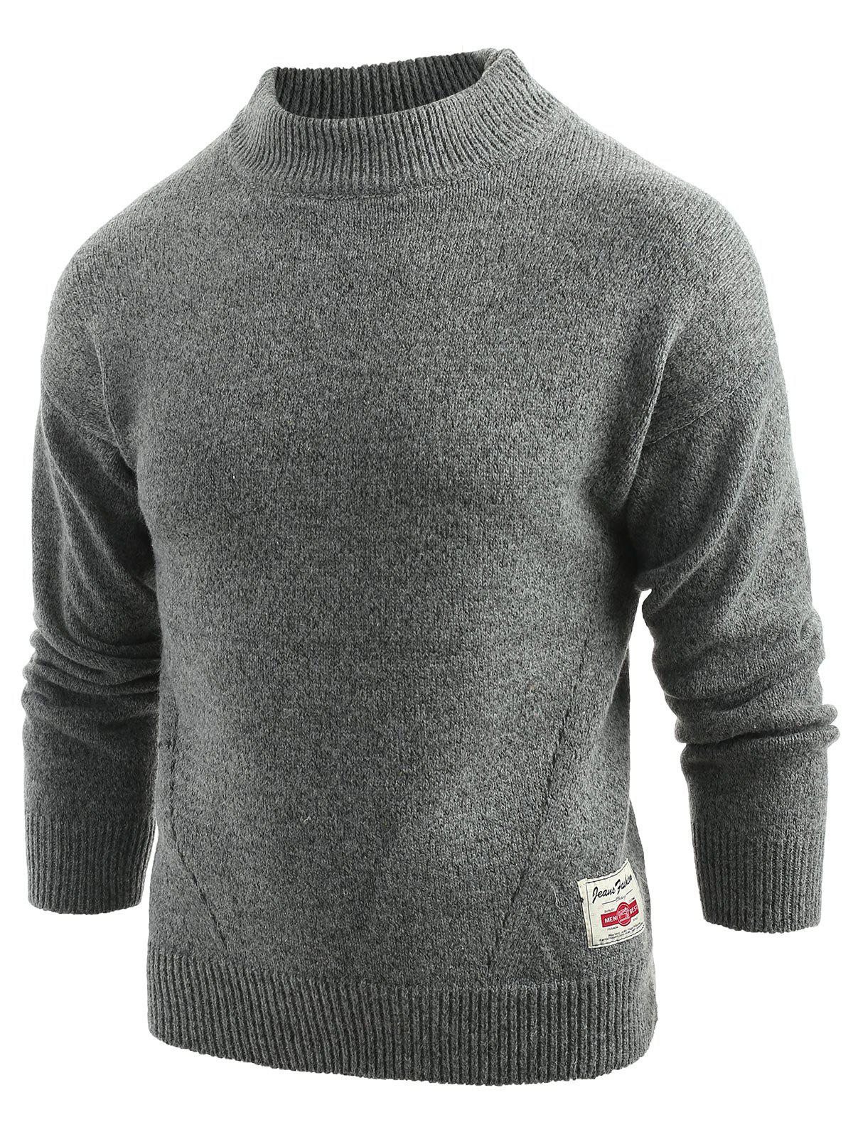Long Sleeve Panel Pullover Sweater - DARK GRAY L