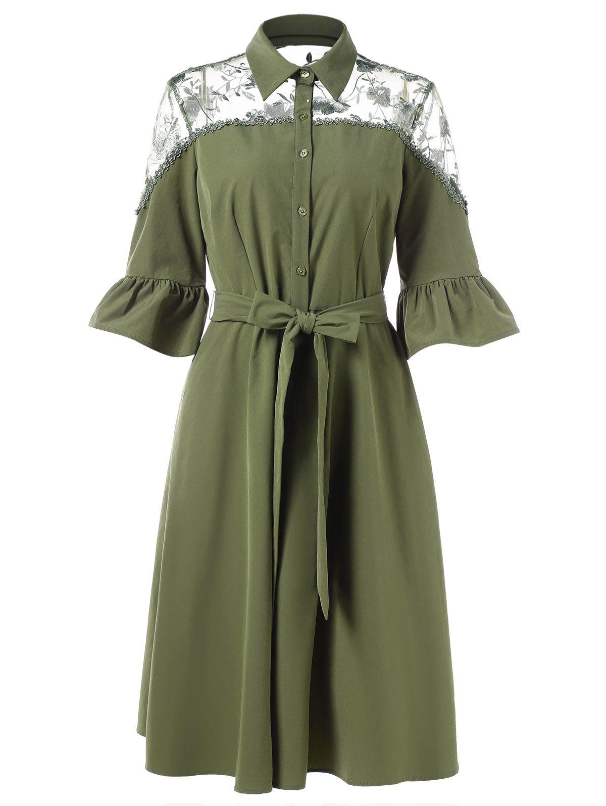 Half Button Lace Panel Shirt Dress - FERN GREEN XL