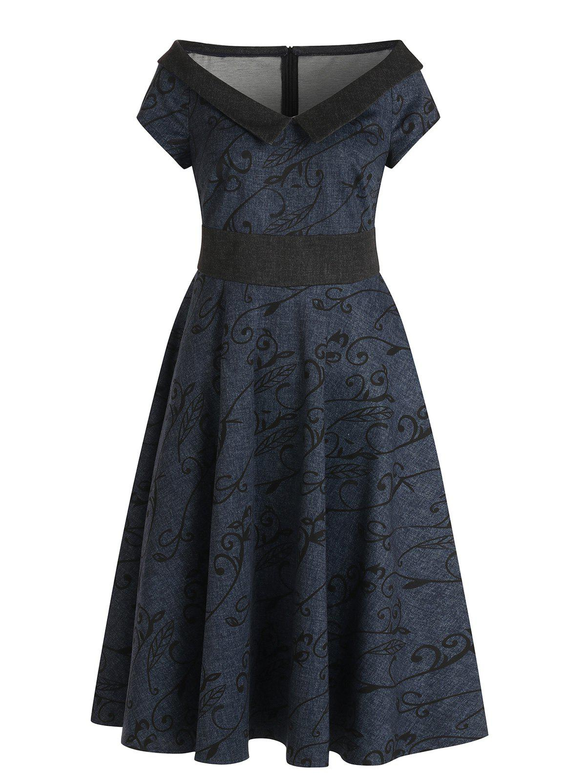 Flat Collar Plant Print Vintage Swing Dress - DARK SLATE BLUE L