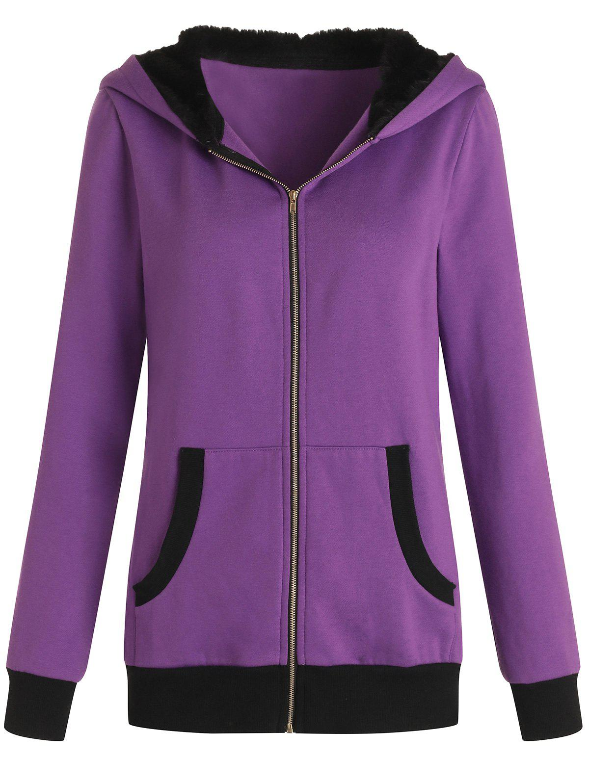 Faux Fur Zip Up Cat Ear Hoodie - PURPLE L