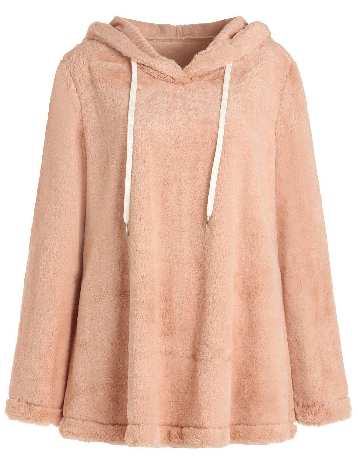 Pullover Drawstring Fluffy Hoodie