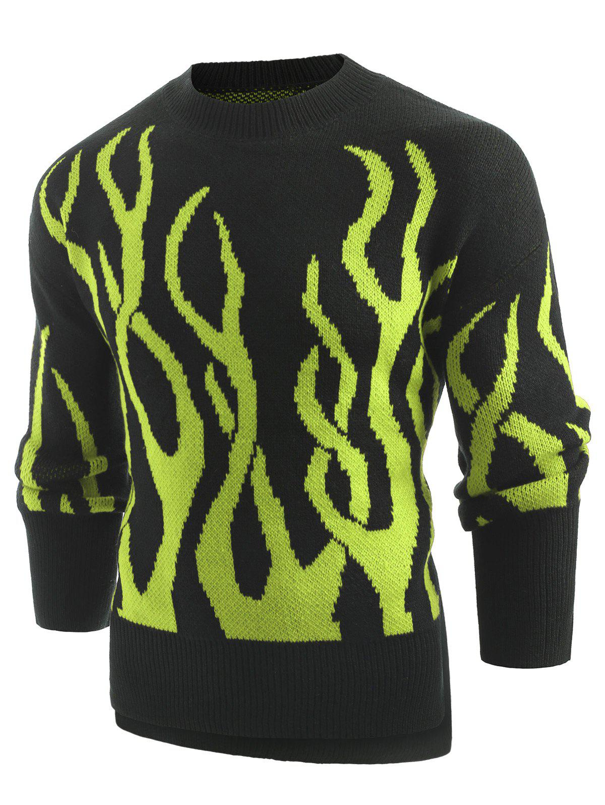 Plant Print Long Sleeve Pullover Sweater - GREEN M
