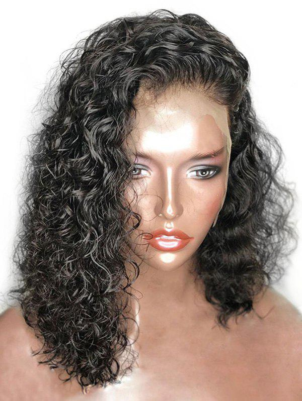 Medium Inclined Bang Curly Synthetic Lace Front Wig - BLACK 18INCH