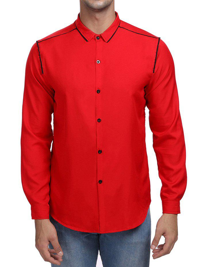 Line Print Contrast Color Long Sleeve Shirt - RED XL