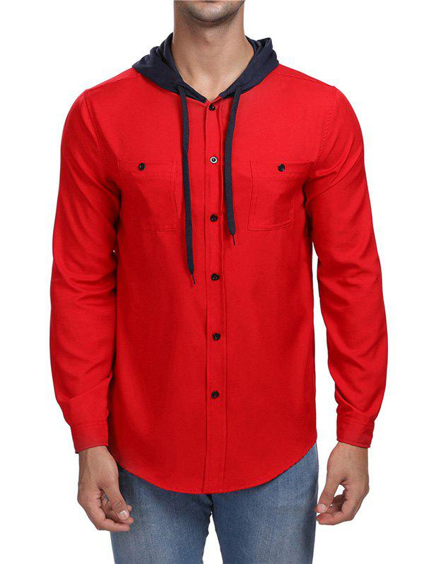 Panel Hooded Long Sleeve Shirt - RED XL