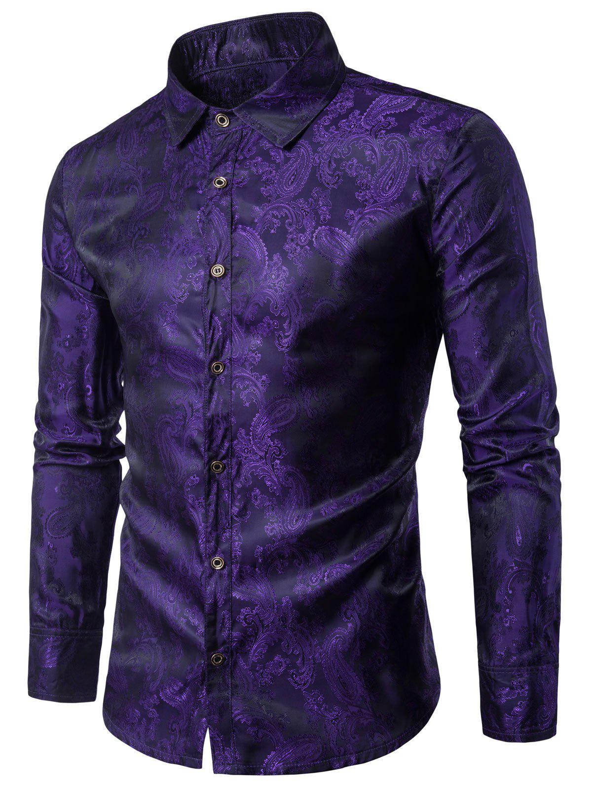 Casual Long Sleeve Paisley Vintage Shirt - PURPLE IRIS M