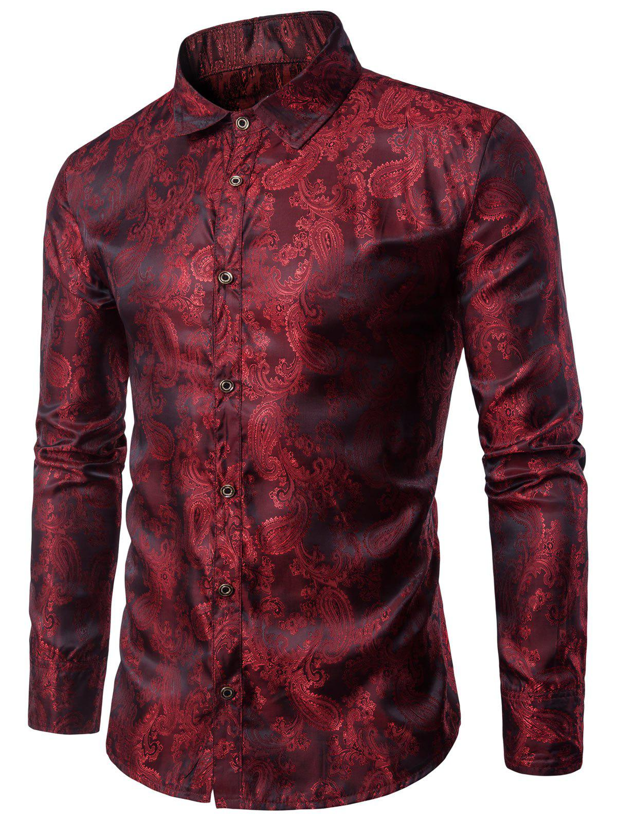Casual Long Sleeve Paisley Vintage Shirt - RED WINE 2XL