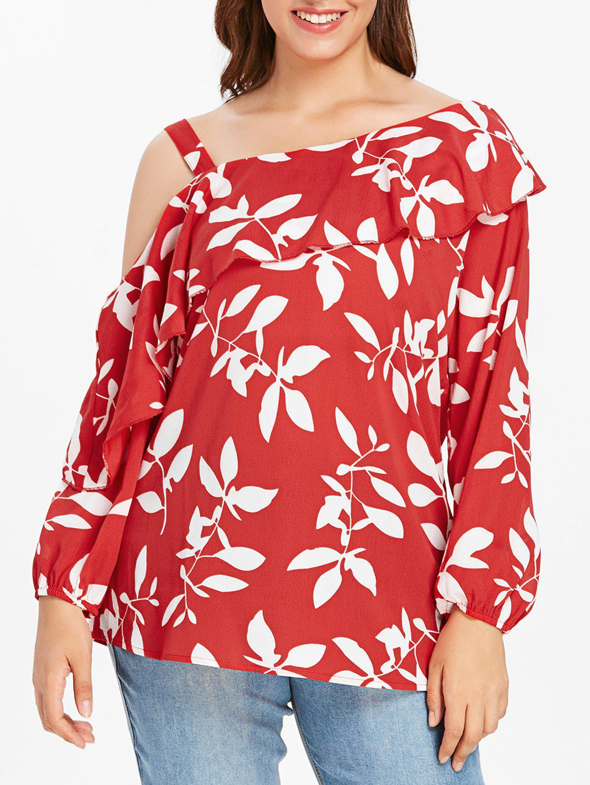 Plus Size Flounce Floral Top with Skew Neck