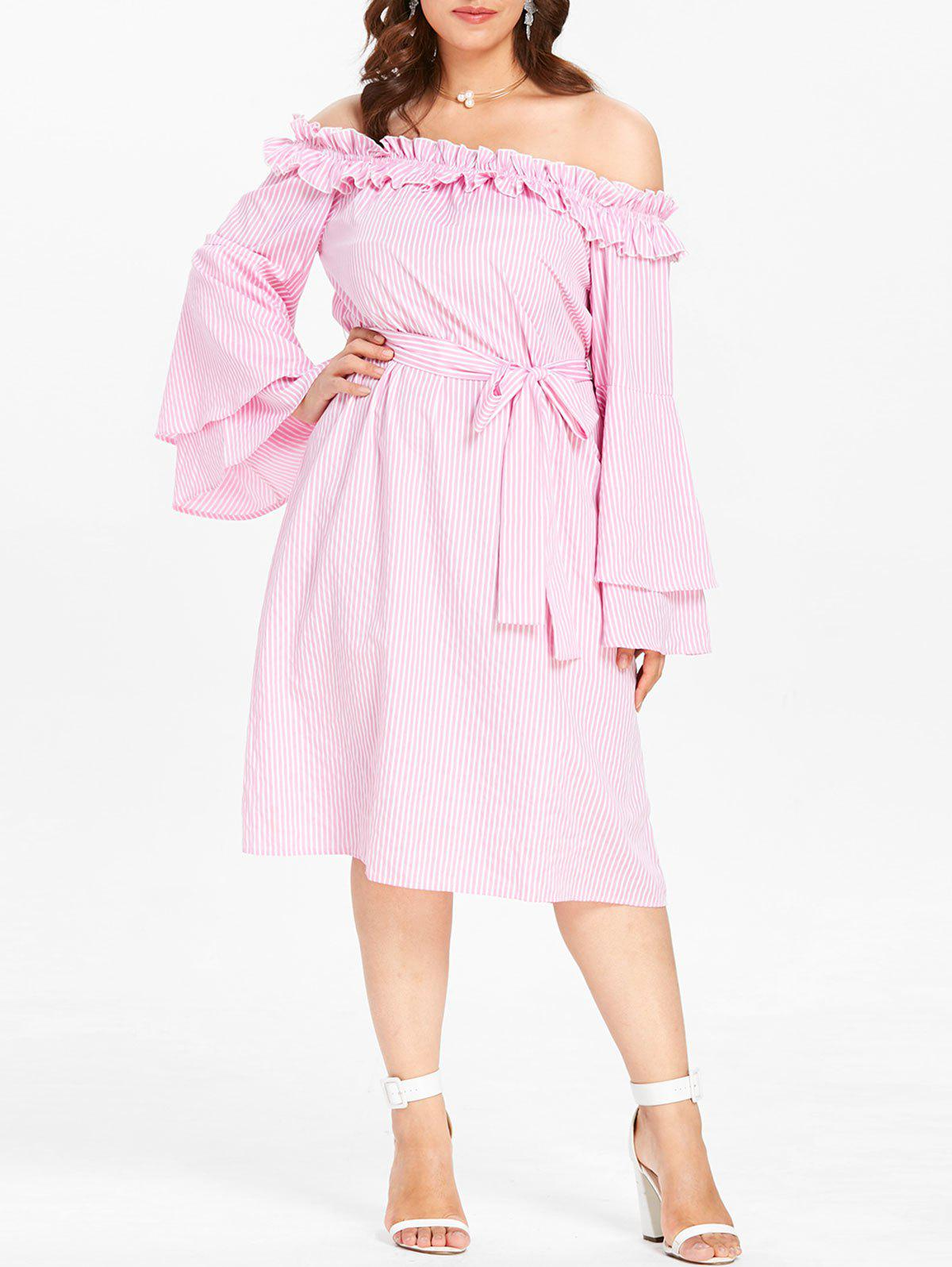 Plus Size Off Shoulder Stripe Midi Dress - LIGHT PINK 4X