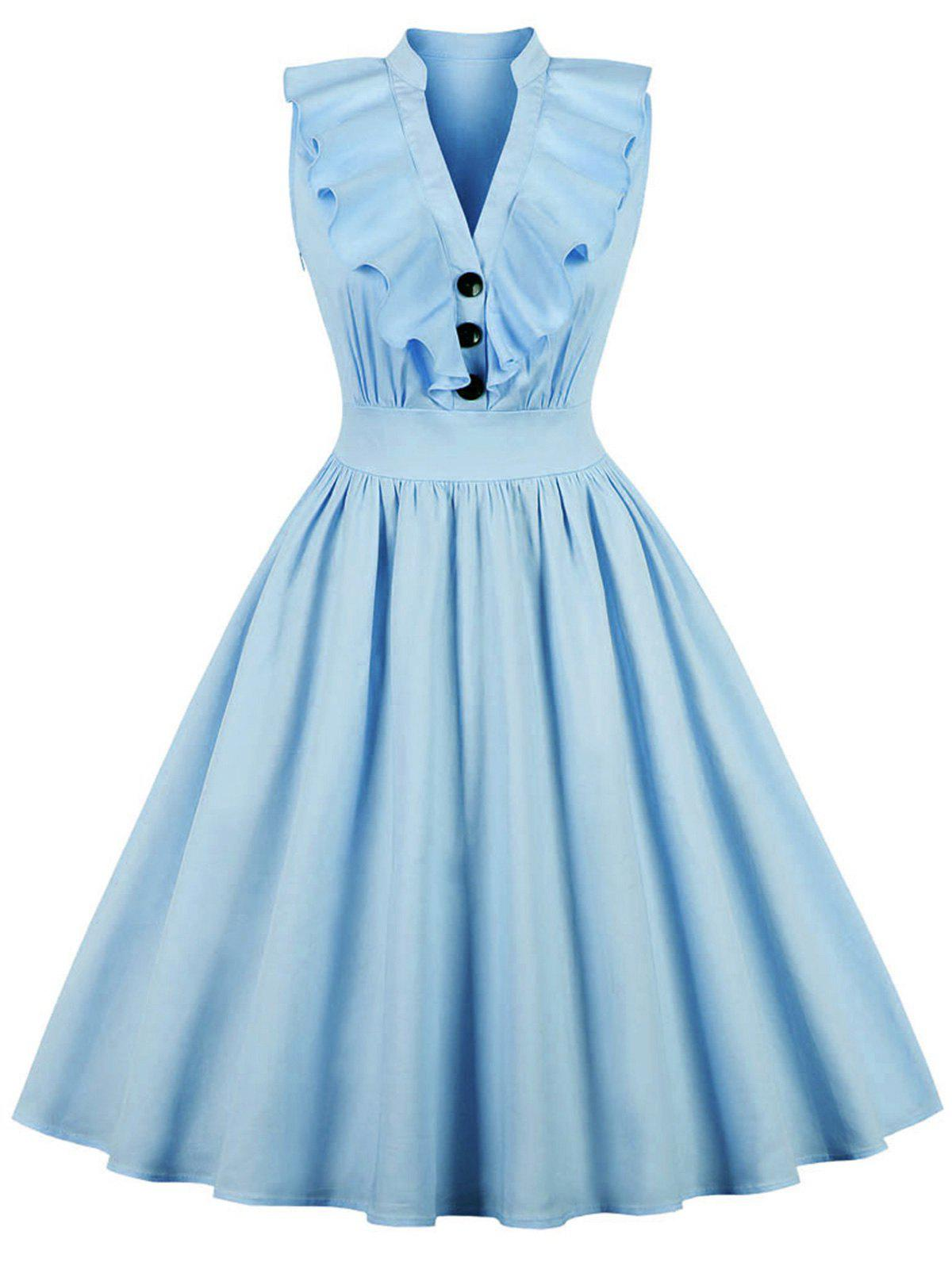 Vintage Ruffled Fit and Flare Dress - DEEP SKY BLUE 2XL