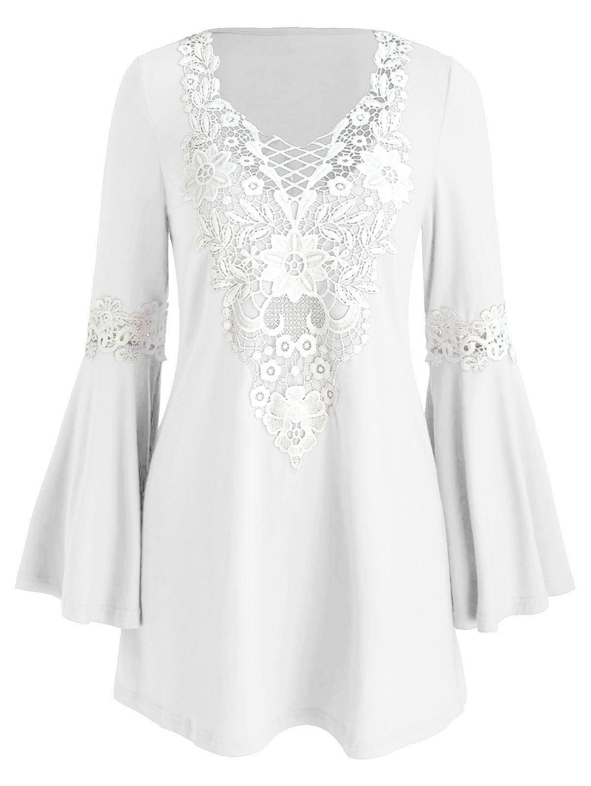Crochet Panel Flare Sleeve Tunic Dress - WHITE S