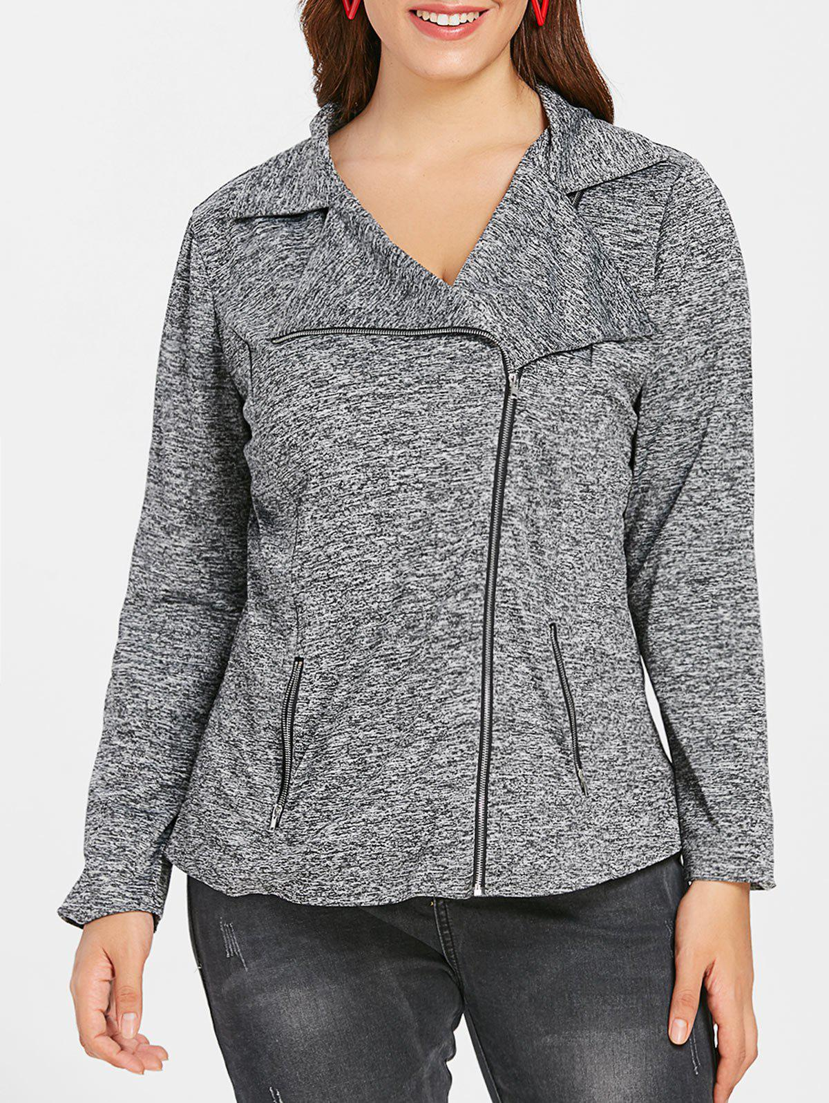 Plus Size Zip Fly Marled Jacket - GRAY 3X