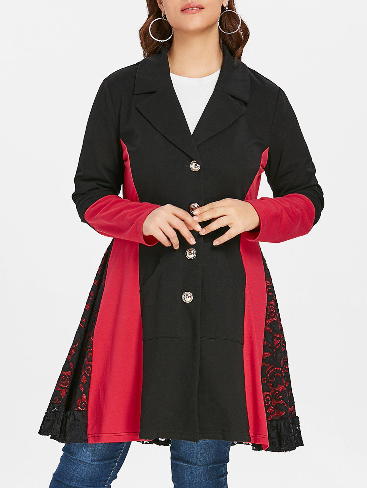 Plus Size Lace Panel Color Block Coat фото