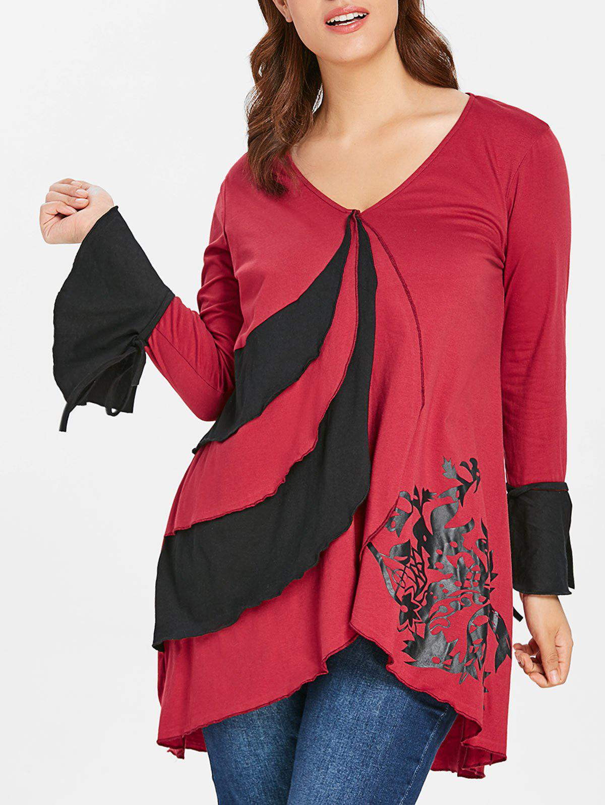 Plus Size V Neck Flare Sleeve T-shirt - RED WINE L
