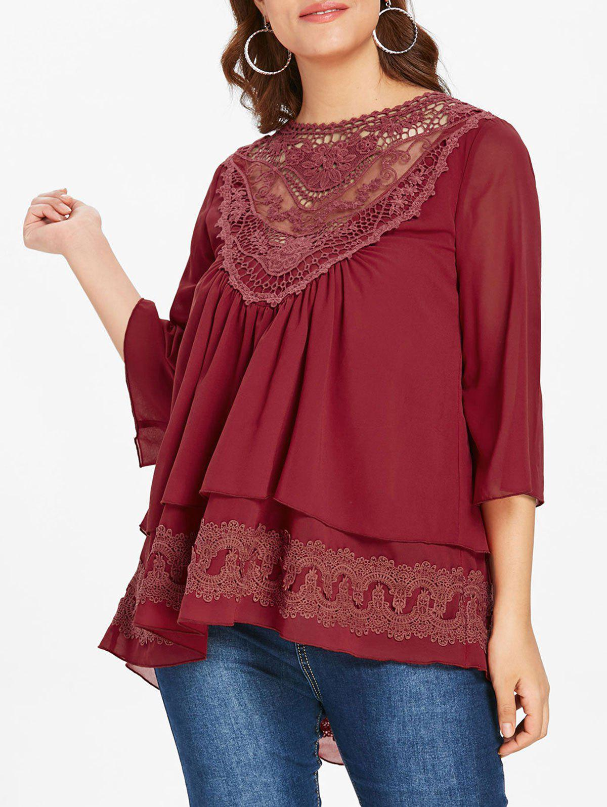 Plus Size Lace Insert Layered Blouse - RED WINE 1X