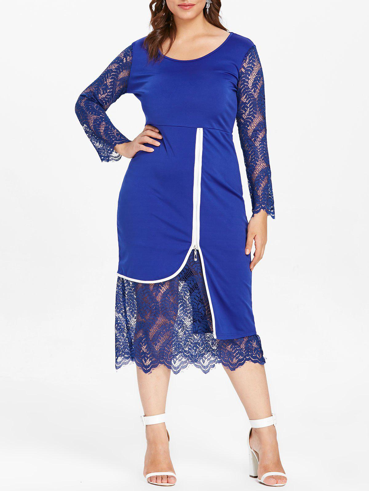 Plus Size Lace Insert Midi Bodycon Dress - ROYAL BLUE 4X