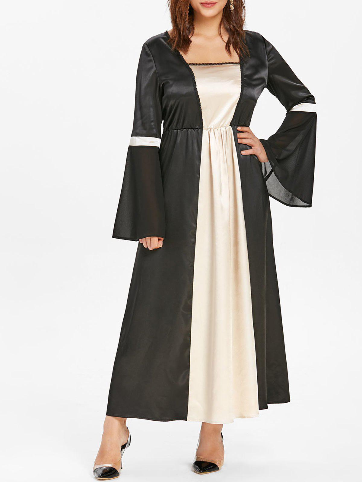 Halloween Plus Size Bell Sleeve Cosplay Dress - BLACK L