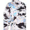 Plus Size Kangaroo Pocket Flower Camo Hoodie - WHITE 5X