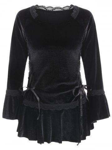 Gothic Style Long Sleeve Sweetheart Neck Lace-Up Pure Color Women's Blouse