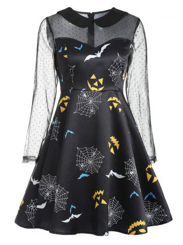 Mesh Yoke Halloween Spider Web Dress