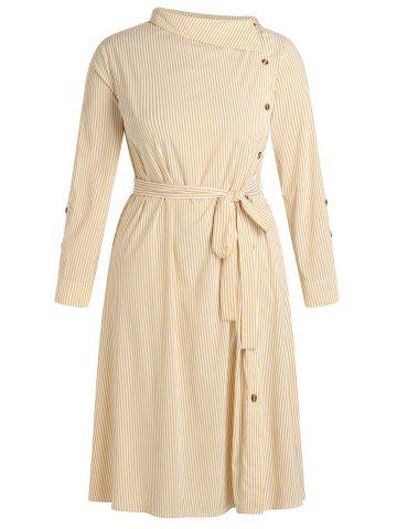 Plus Size Belted Long Sleeve Striped Dress