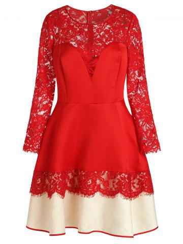 Plus Size See-through Lace Spliced Dress