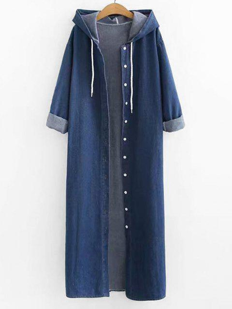Plus Size Hooded Longline Jean Coat - DENIM DARK BLUE 2X