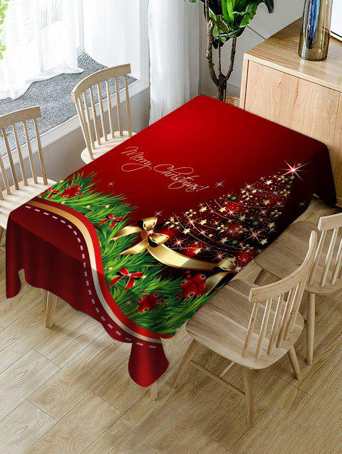 Christmas Tree Bowknot Print Fabric Waterproof Tablecloth - RED W54 X L54 INCH