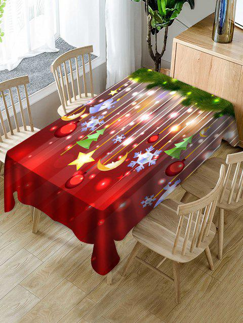 Christmas Hanging Decorations Print Fabric Waterproof Tablecloth - multicolor W54 X L72 INCH