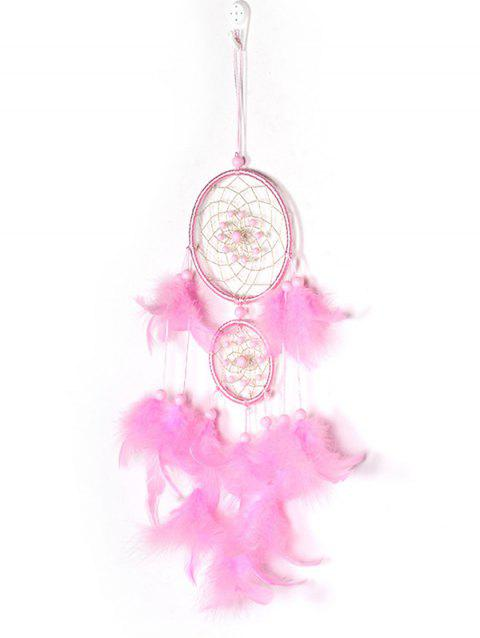 Feathers Beaded Handmade Dream Catcher - PINK